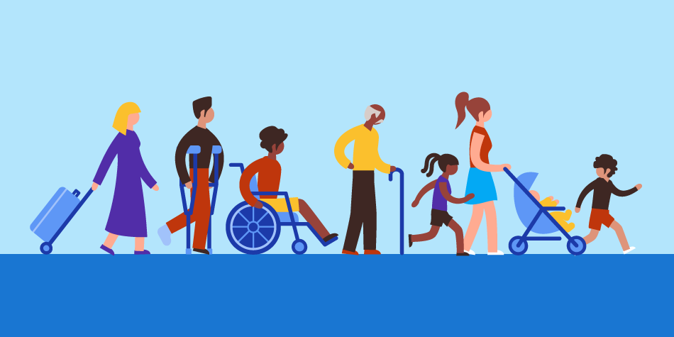 Caption: Illustration of people with luggage, in a wheelchair, walking with a cane, running, and walking,.