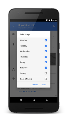 """Tap """"Hours"""" to select days to set hours for"""
