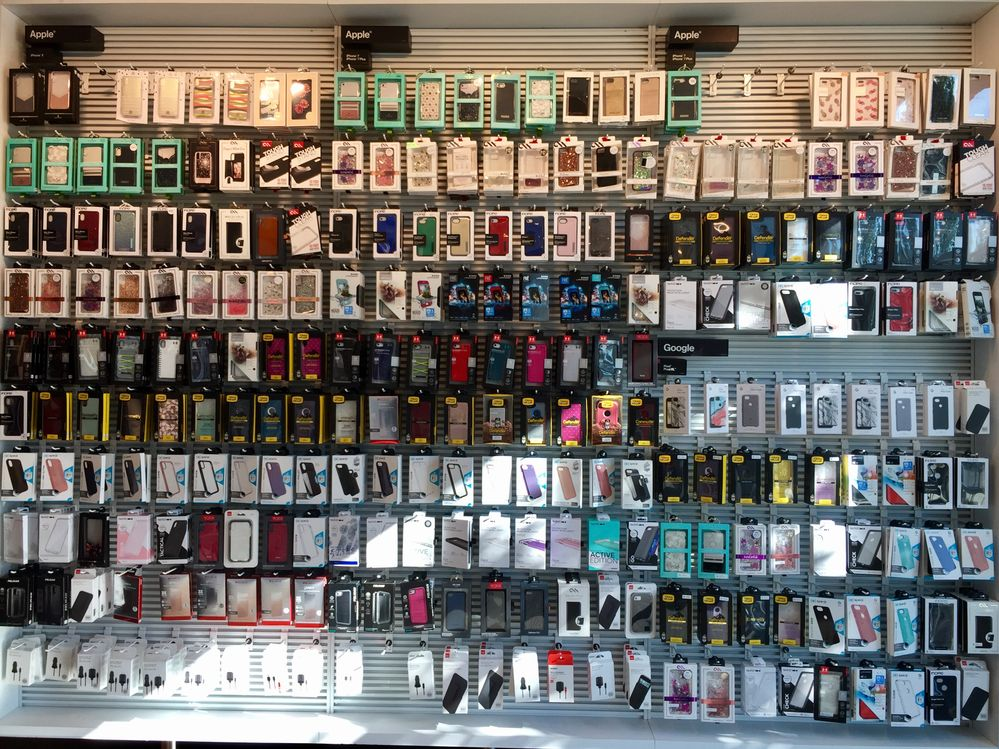 Wall of smartphone accessories for sale