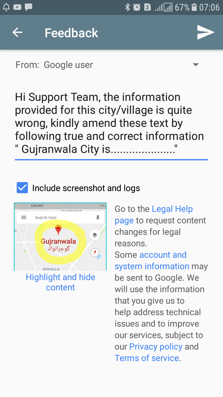 Local Guides Connect - Unable to send feedback about a city - Local