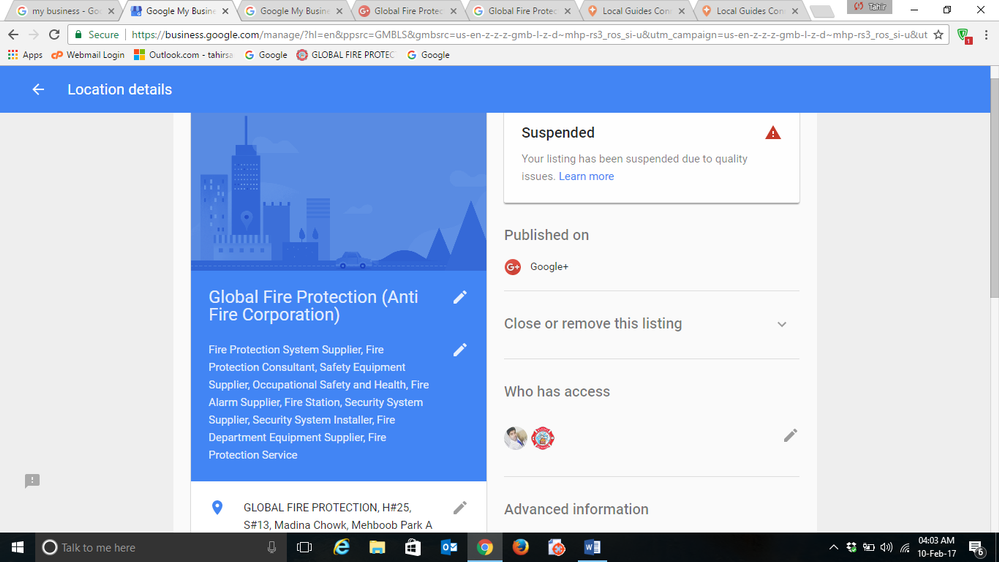 Local Guides Connect - My Google Maps listing has been suspended due