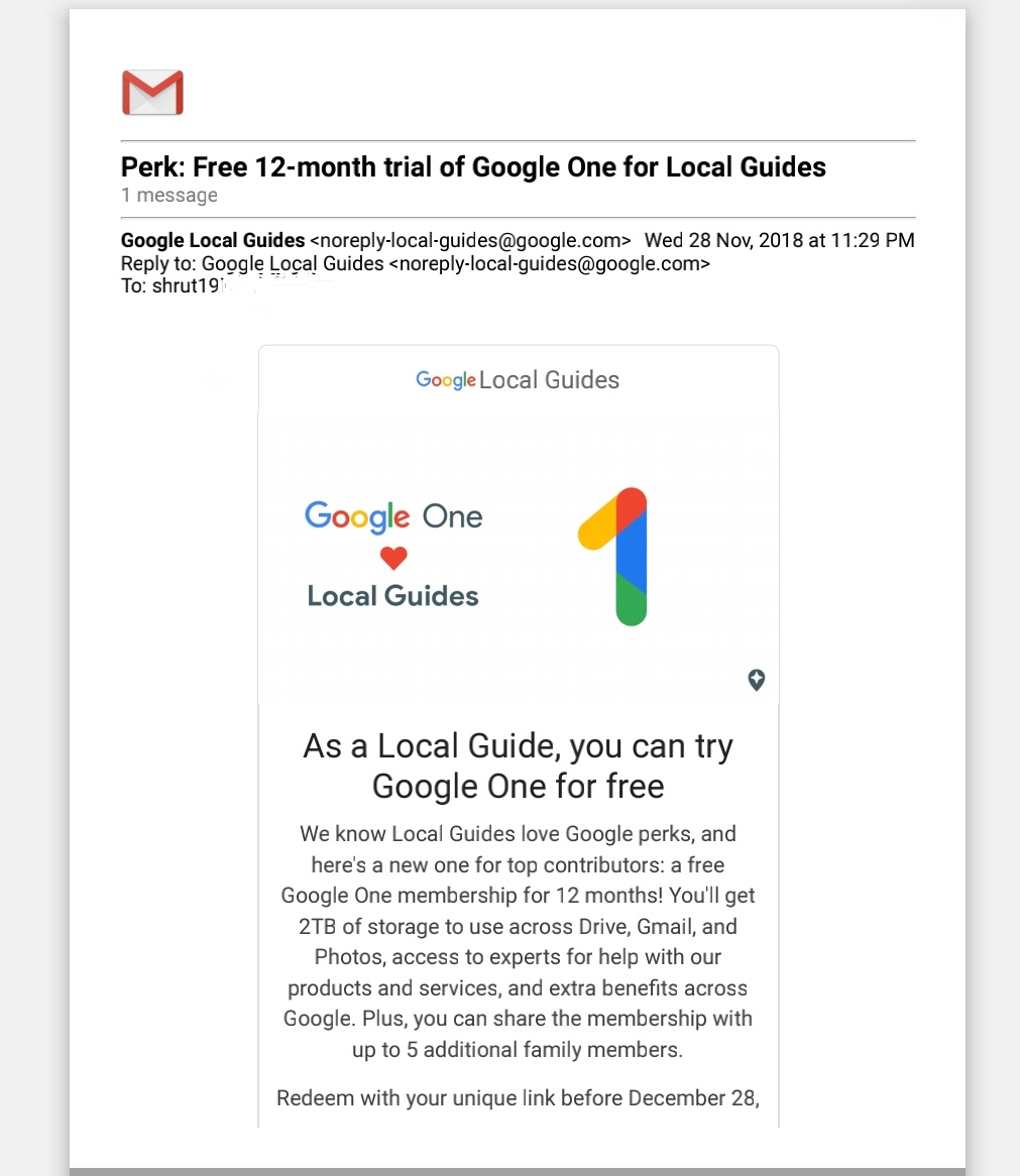 Solved: Local Guides Connect - How to Redeem Google One