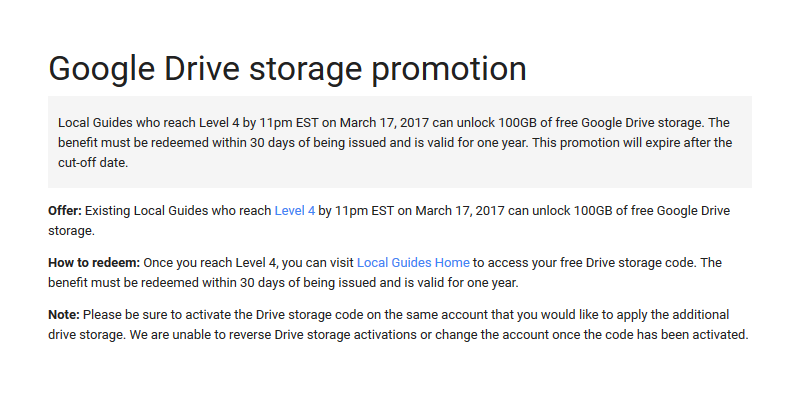 Local Guides Connect - Google Drive Storage Promotion Ending