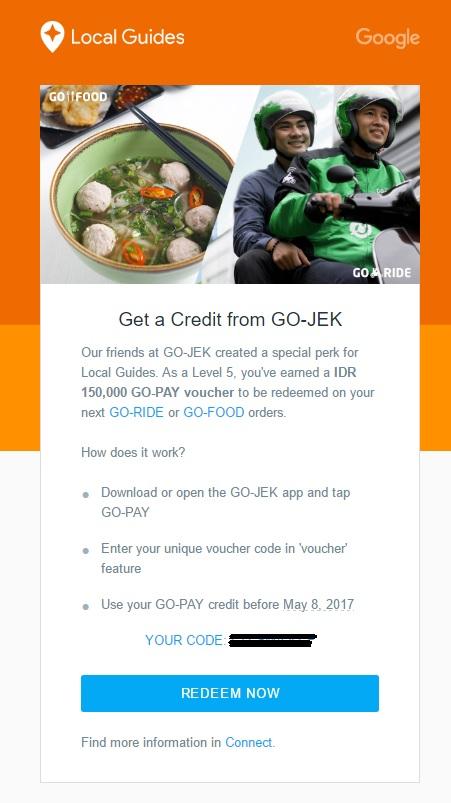 Local Guides Connect Indonesia Perk Free Go Pay Voucher By Go Jek Local Guides Connect