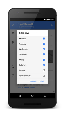 "Tap ""Hours"" to select days to set hours for"
