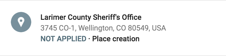 Local Guides Connect - Added Sheriff's Office - Edit NOT APPLIED