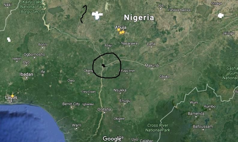 Map showing the adjoining point of River Niger and River Benue