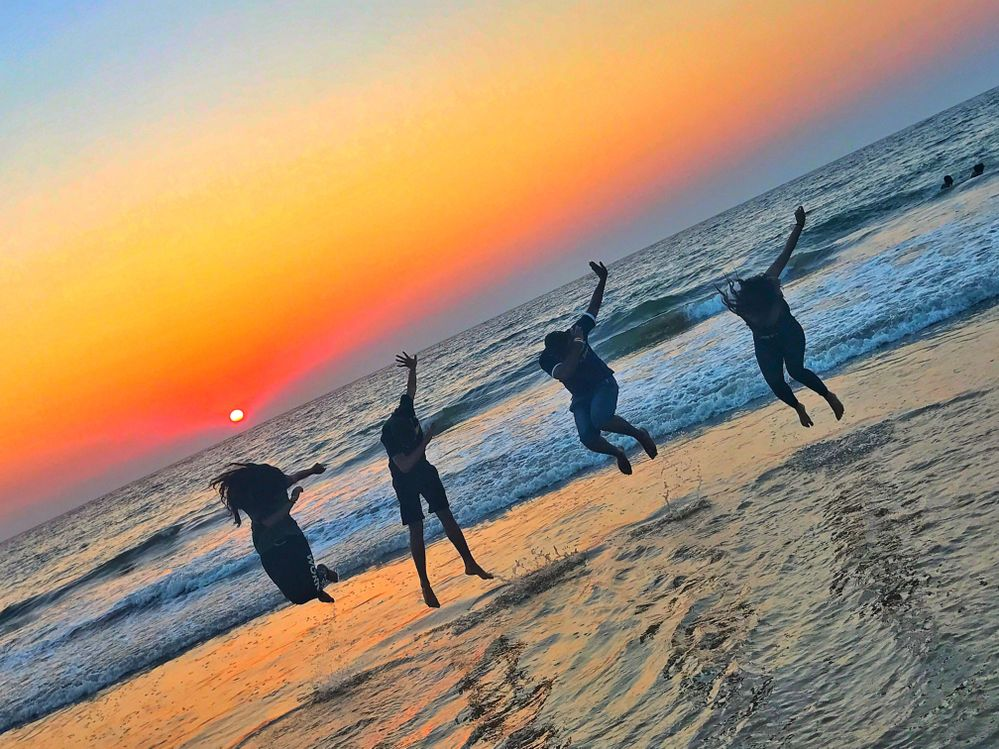 This is me and my cousins at Mount Lavinia Beach, Sri Lanka